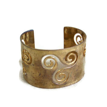 Vintage metal CUFF BRACELET carved out Rustic tribal jewelry Bold statement jewellery, punched out, gift for her, brass plated pale goldtone
