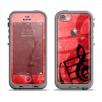 The Scratched Red Surface with Black Music Note Apple iPhone 5c LifeProof Fre Case Skin Set