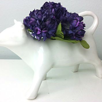 Vintage Ceramic Cow Creamer, Vintage Cow Creamer, Vintage Made in France, Cute Ceramic Cow, Ceramic Cow Planter, French Home Decor