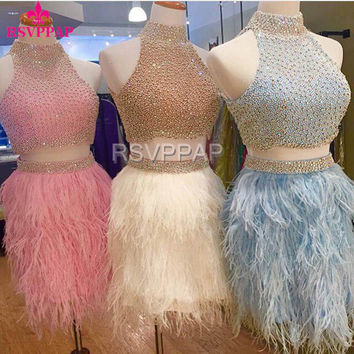 Amazing Mini Cocktail Dress with Feathers 2017 High Neck Off the Shoulder Beaded Crystals Sparkly Two Piece Cocktail Dresses