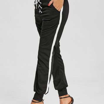 Front Lace Up Jogging Pants