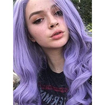 Long Pure Lavender Wave Synthetic lace front wig