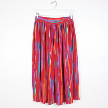 Vintage 1980s Skirt Red Rainbow Abstract Print Watercolor Striped New Wave High Waisted Midi Skirt 80s Skirt Pleated Tulip Waist M Medium L