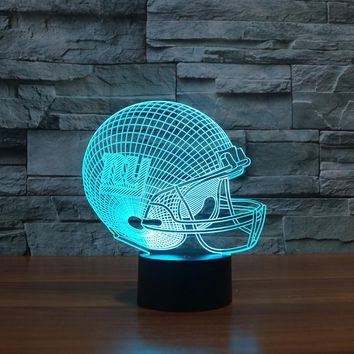 NY New York Giants Team Logo 3D Lights Football Helmet Table Desk Lamp Colorful Acrylic USB LED Night Light Child Christmas Gift