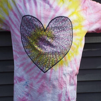 Zentangle Heart Tie Dye Tshirt, Adult M, Valentine Shirt, Heart Shirt, Hippie Shirt, Valentines Day Gift, Gifts for Her, Womens Valentine