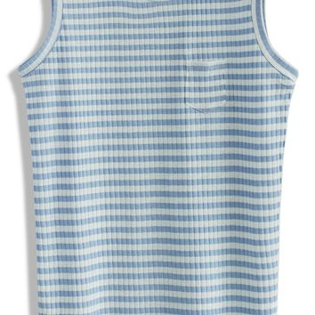 Casual Blue Stripes Knit Top