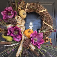 Fall Grapevine wreath, Autumn Grapevine Wreath with purple magnolias, beige and purple wild flowers front door wreath