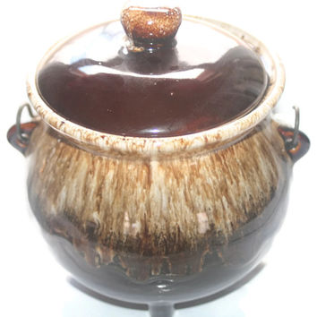 Vintage Brown Glaze Pottery Bean Pot, Soup Pot with Wire Handle