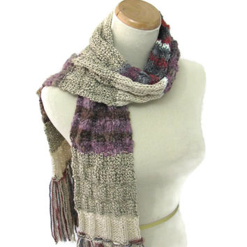 Shabby Chic Scarf, Hand Knit Scarf, Knit Scarf, Tan Brown, Fiber Art, Winter Scarf, Womens Scarf, Fashion, Burgundy, Purple