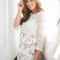 Tiered Floral Ruffle Knit Tunic Top - Ivory