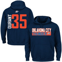 Kevin Durant Oklahoma City Thunder Vertical Name & Number Hoodie – Navy Blue