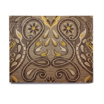 "Suzie Tremel ""Vintage Damask"" Brown Gold Birchwood Wall Art"