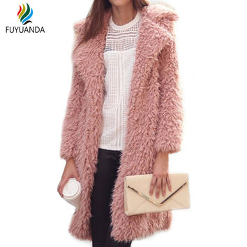 Long Sleeve Cardigan Coat Women Fur Outerwear Autumn Winter Warm Jacket Ladies Tops Wool Kimono Jacket Female Casaco Feminino