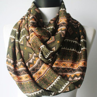 green aztec scarf,infinity scarf, scarf, scarves, long scarf, loop scarf, gift