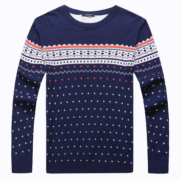 Winter Men Knit Tops Long Sleeve Round-neck Slim Korean Sweater [7912357123]