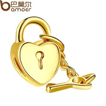 Gold Color Heart Lock Key Charm Fit Bracelet Necklace Pendant Accessories PA5264