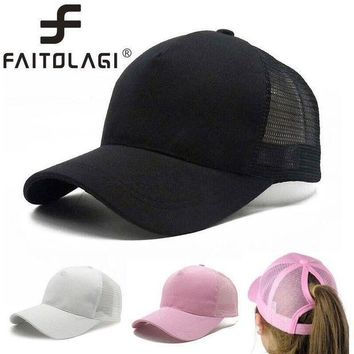 PEAPFS2 2018 New Fashion Baseball Hats Women Men Baseball Cap Women Messy Bun Baseball Hat Sun Hats Snapback Caps Adjustable Mesh Hats
