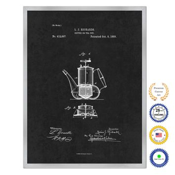 1889 Coffee or Tea Pot Antique Patent Artwork Silver Framed Canvas Home Office Decor Great for Coffee Lover Cafe Tea Shop