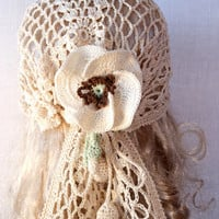 Woman Lace Crochet Vintage Style Beige Headband Dreadlock Hair Snood Wrap Ponytail Kerchief Bandana Gypsy Pirate Tam Dreads Hat Summer