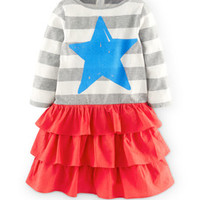 Stripy Ruffle Logo Dress