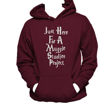 Just Here for a Muggle Studies Project Unisex Hoodie, Muggles Hoodie, Harry Potter, jumper, funny