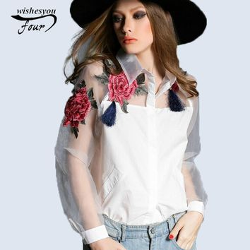 2017 new spring and summer blouse blusa embroidered flowers organza long-sleeved white shirt Black and white women tops 606B 28