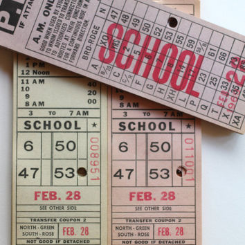 15 School Bus Tickets Philadelphia 1969 - Numbered, DeStash Paper Lot Supplies Vintage Altered Art Scrapbooking Junk Journal Transportation