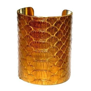 Oversized Gold Genuine Snakeskin Arm Cuff by by UNEARTHED on Etsy
