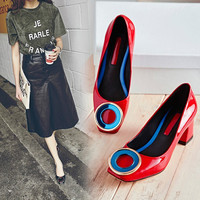 Summer Square Toe With Heel Shoes [4920608516]