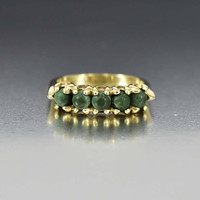 Vintage Art Deco Gold Green Turquoise Band Ring
