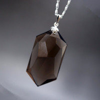 Faceted Smoky Quartz Necklace,  66.5ct Genuine Large Smoky Quartz Pendant , Smoky Quartz Healing Necklace