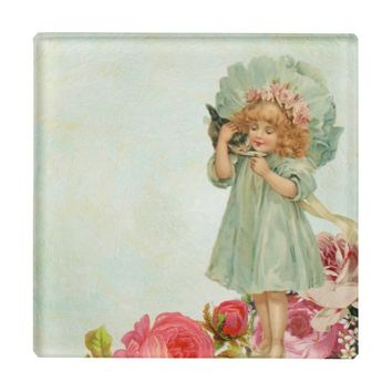 Sweet Vintage Little Girl with Her Kitten Glass Coaster