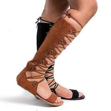Tanaya527 Tan Open Toe Gladiator Lace Up Flat Sandals