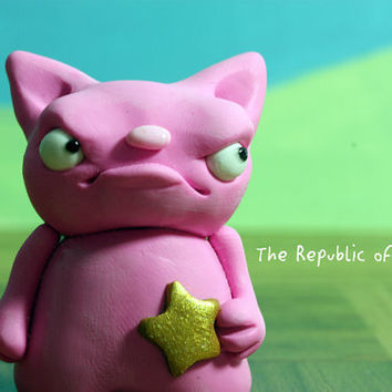 Grumpy Pink Beast with Gold Star - Awesomely Geeky Original Sculpture - Fun Desk Accessory - Unique Quirky Gift for Kids Teens and Adults