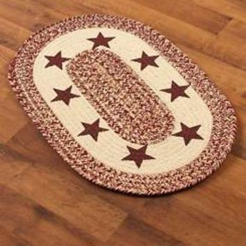 "Reversible Braided Accent Rug Star Design 20"" x 30"" Rustic Country Home Decor"