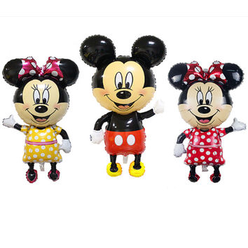 TSZWJ Large 112*64 cm Minnie Mickey foil balloons Bowknot standing mouse Polka dot wedding birthday party decor supplies globos