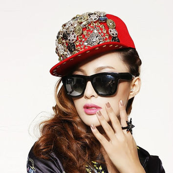 2015 New Fashion Hats Leopard head Rivet Hats Hip Hop Punk Baseball Caps Street Dance Cap One Size