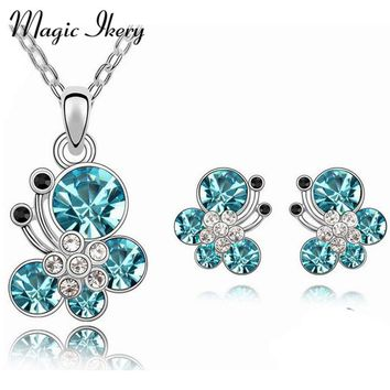 Magic Ikery Fashion Jewelry  Gold Color Crystal Trendy  Crystal Jewelry Sets with necklace earring for women Z1090