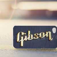 Guitar Gibson Logo Black Wood - for iPhone 4/4s, iPhone 5/5s/5c, Samsung S3 i9300, Samsung S4 i9500 *factorysweatyes*