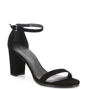 Stuart Weitzman - Nearlynude Patent Leather Block-Heel Sandals