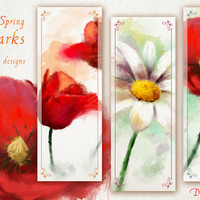 Flower bookmarks PRINTABLE digital painting, spring bookmark design, watercolor flowers on bookmarks, daisy and poppy painting design