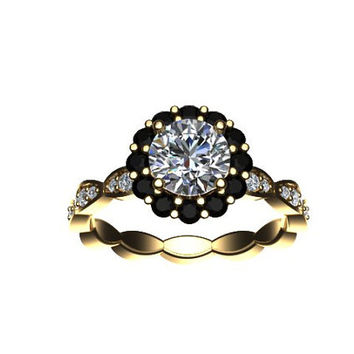 Classic Black and White Diamond Moissanite Engagement Ring 14K Yellow Gold with 6.5mm Round Cut Moissanite Center - V1062