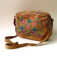 Boho vintage Floral Embroidered Brown Suede Purse