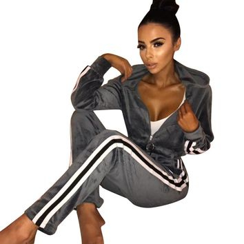 Pure Velvet Tracksuit with Contrast Bands