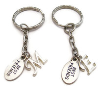 Best Friends Keychain Set  Personalized 2 Best Friend Keychains Initial Keychains Bff Gifts Small Best Friends Keychains Letter Keychains
