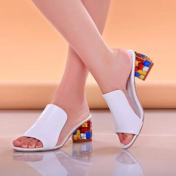 Rhinestone Peep Toe Heels Women Sandals Shoes Sexy Open Toe Wedge Slides Shoes Woman High Heels Sandals Platform Flip flops Plus