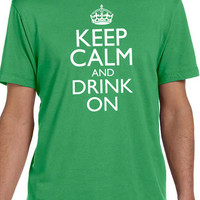 St Patrick's Day Keep Calm and Drink On Mens T shirt Husband Gift Cool Party T Shirt Boyfriend Gift Shirts Irish Gift Ireland shirt