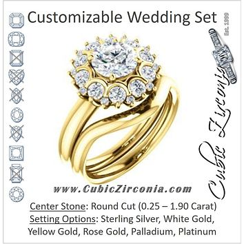 CZ Wedding Set, featuring The BettyJo engagement ring (Customizable Round Cut featuring Cluster Accent Bouquet)