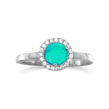 Rhodium Plated Synthetic Blue Opal and CZ Ring