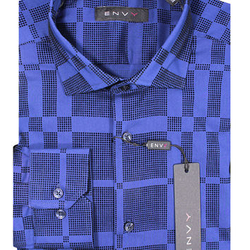 Envy Men's Long Sleeve Blue Fashion Dress Shirt 1002